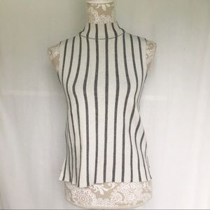 Moth // Grey, Navy Striped Mock Neck Sweater Top